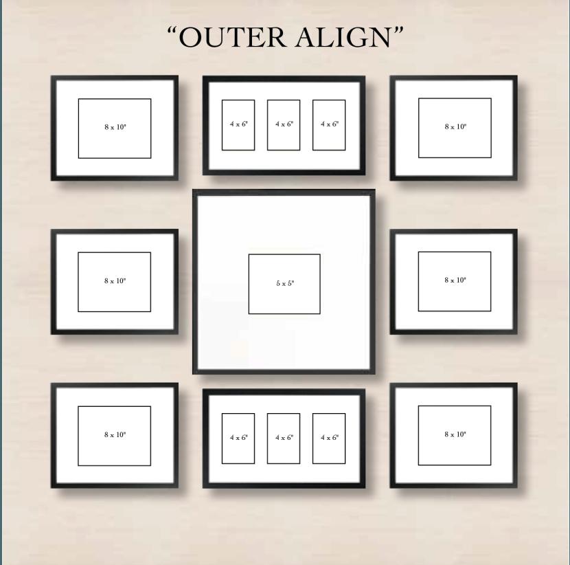 """Галерея на стене """"прямоугольник"""""""