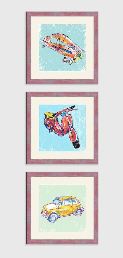 Репродукция картина - Вертикальный коллаж из трех рамок
