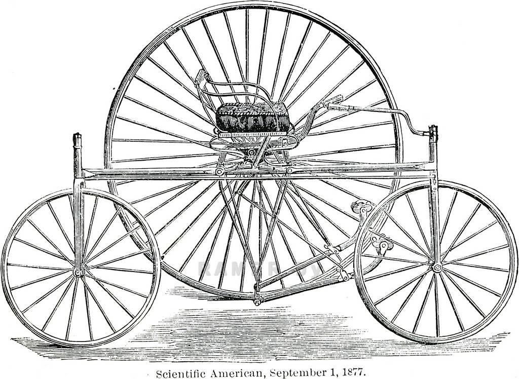 Репродукция картина - Графика - винтажный велосипед - для коллажа на стену