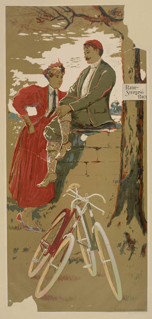 Репродукция картина - винтажный постер велосипед