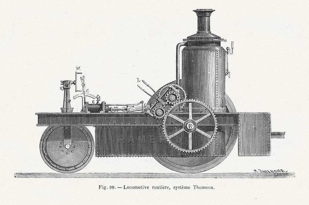 Репродукция картина - Старинный паровоз для коллажа на стену
