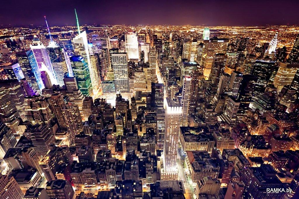 Репродукция картина - Вид на Манхэттен Нью Йорк