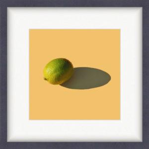 Репродукция картина - Лайм на желтом, Обрамление в раму 221015 с белым паспарту