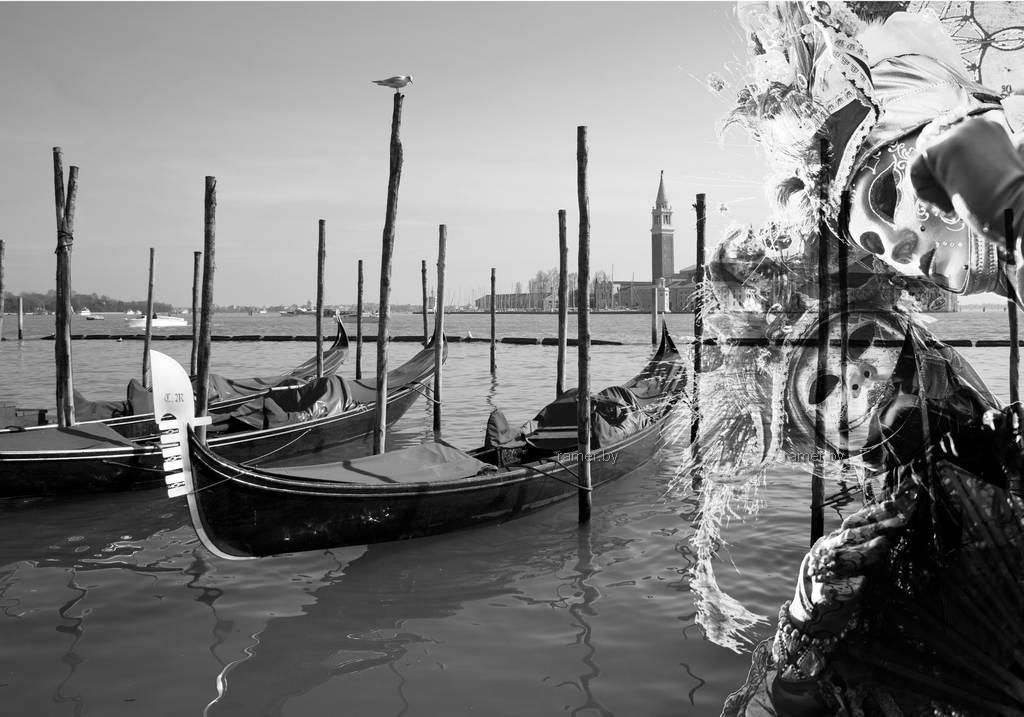 Репродукция картина - Венеция, гондолы, карнавал