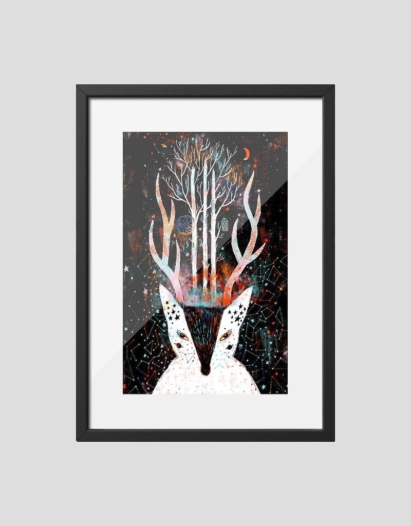 Постер Лиса-Олень в раме